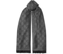 Schal aus Woll-jacquard mit Fransen