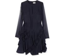 Kleid aus Seidenchiffon mit Rüschen
