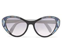 Verspiegelte Cat-eye-sonnenbrille aus Azetat