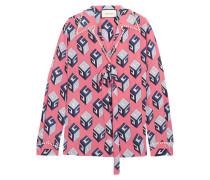 Verzierte Bluse aus Bedrucktem Crêpe De Chine aus Seide