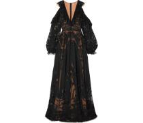 Verzierte Robe aus Georgette und Tüll aus einer Seidenmischung