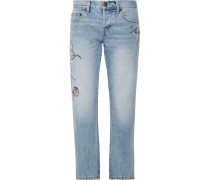The Crossover Bestickte Halbhohe Jeans
