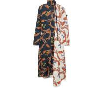 Bedrucktes Kleid aus Bahnen aus Seiden-twill