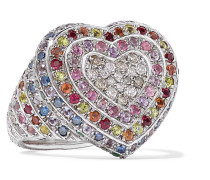 Heart Ring aus 18 Karat  mit Mehreren Steinen