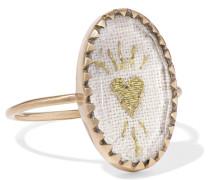 Blossom N°3 Ring aus 9 Karat , Baumwolle und Glas