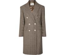 Doppelreihiger Oversized-mantel aus Karierter Wolle