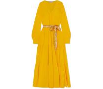 Gestuftes Kleid aus Seidensatin mit Gürtel