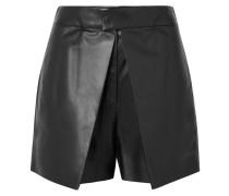 Shorts aus Leder mit überschlag