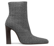 Ankle Boots aus Wolle mit Glencheck-muster