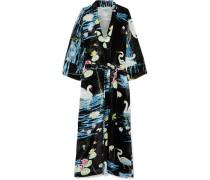 Peignoir Wickelkleid aus Bedrucktem Samt