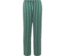Pyjama-hose aus Gestreiftem Seidensatin