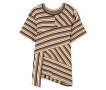 + 7 For All Mankind Asymmetrisches, Geripptes T-shirt aus Gestreiftem Baumwoll-jersey