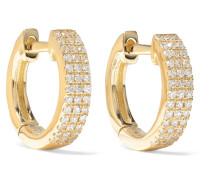 Huggie Ohrringe aus 14 Karat  mit Diamanten