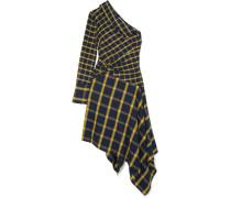 Asymmetrisches Kleid aus Gebürsteter, Karierter Baumwolle