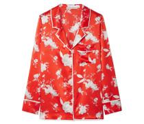 Keir Hemd aus Seidensatin mit Blumendruck
