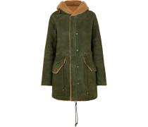 Mantel aus Shearling mit Kapuze