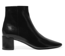 Lou Ankle Boots aus Glanzleder in Knitteroptik