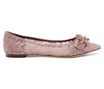 Flache Schuhe aus Schnurgebundener Spitze