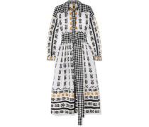 Kleid aus Baumwoll-jacquard und Popeline