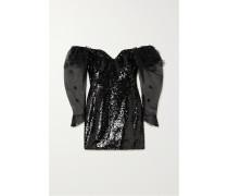Schulterfreies Minikleid aus Tüll und Seidenorganza
