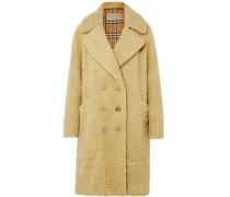 Doppelreihiger Oversized-mantel aus Shearling-imitat aus einer Wollmischung