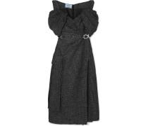 Schulterfreies Midikleid aus Tweed aus einer Wollmischung