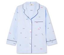 Marina Besticktes Pyjama-hemd aus Baumwollpopeline