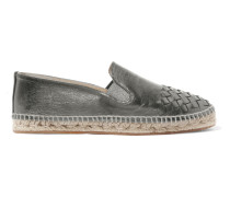 Espadrilles aus Intrecciato-leder in Metallic-optik