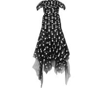 Asymmetrische, Schulterfreie Robe aus Tüll