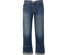 Halbhohe Jeans mit Weitem Bein und Stickerei
