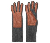Handschuhe aus Geripptem Kaschmir und Leder