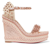 Madmonica 120 Espadrille-wedges aus Craquelé-leder in Metallic-optik