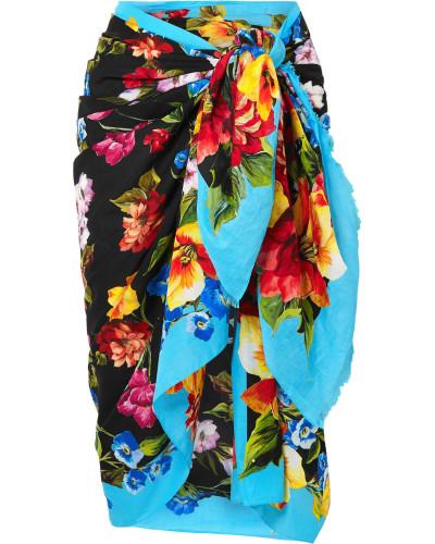 Pareo aus Baumwoll-gaze mit Floralem Print