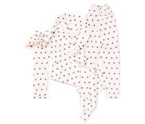 Schulterfreie Bluse aus Satin mit Polka-dots
