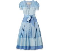Gestreiftes Kleid aus Baumwolle mit Falten