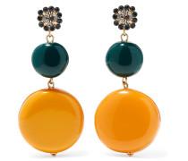 Goldfarbene Ohrringe mit Harz und Kristallen