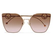 Goldfarbene Sonnenbrille mit Cat-eye-rahmen