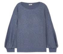 Paillettenverzierter Pullover aus einer Kaschmir-seidenmischung
