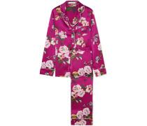 Lila Pyjama aus Seidensatin