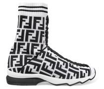 Sneakers aus Logo-jacquard aus Stretch-strick und Mesh