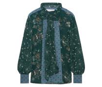 Schluppenbluse Aus Bedrucktem Georgette - Tannengrün