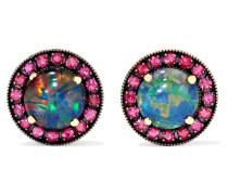 Ohrringe aus 18 Karat  mit Opalen und Rubinen