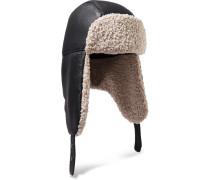 Bibiana Mütze aus Leder und Shearling-imitat