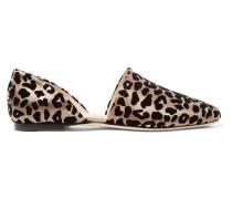 Globe Flache Schuhe aus Beflocktem Satin im Leoparden-look