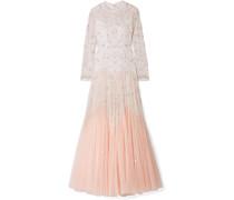 Pearl Rose Verzierte Robe aus Tüll