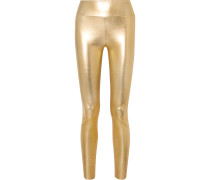 Leggings aus Metallic-leder