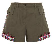 Shorts aus Baumwoll-twill mit Verzierungen