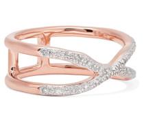 Riva Wave Cross Ring aus -vermeil mit Diamanten