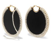 Vergoldete Ohrringe mit Leder und Wolle