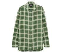 Kariertes Oversized-hemd aus Seidenchiffon